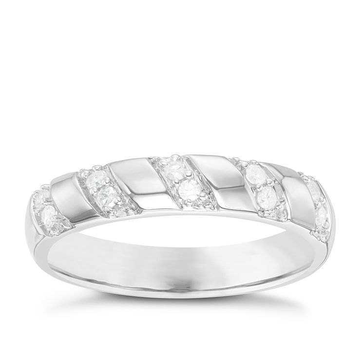 9ct White Gold 0.12 Carat Diamond Set Diagonal Pattern Band - Product number 6086152