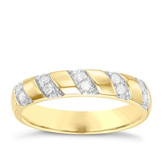 9ct Gold 0.12 Carat Diamond Set Diagonal Pattern Band - Product number 6086292