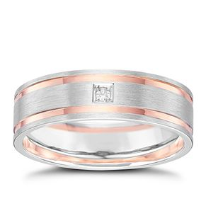 9ct White Gold & Rose Gold Band - Product number 6087418
