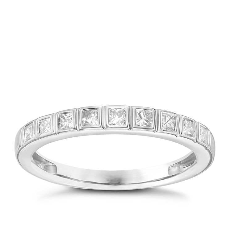18ct White Gold 1/3 Carat Princess Cut Diamond Set Band - Product number 6090214