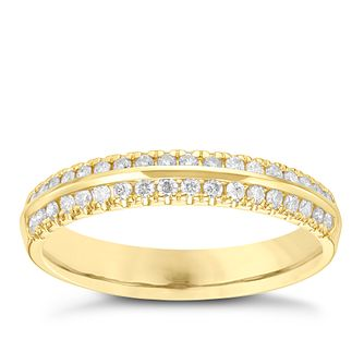 18ct Gold 1/4 Carat Diamond Set Double Row Band - Product number 6090737