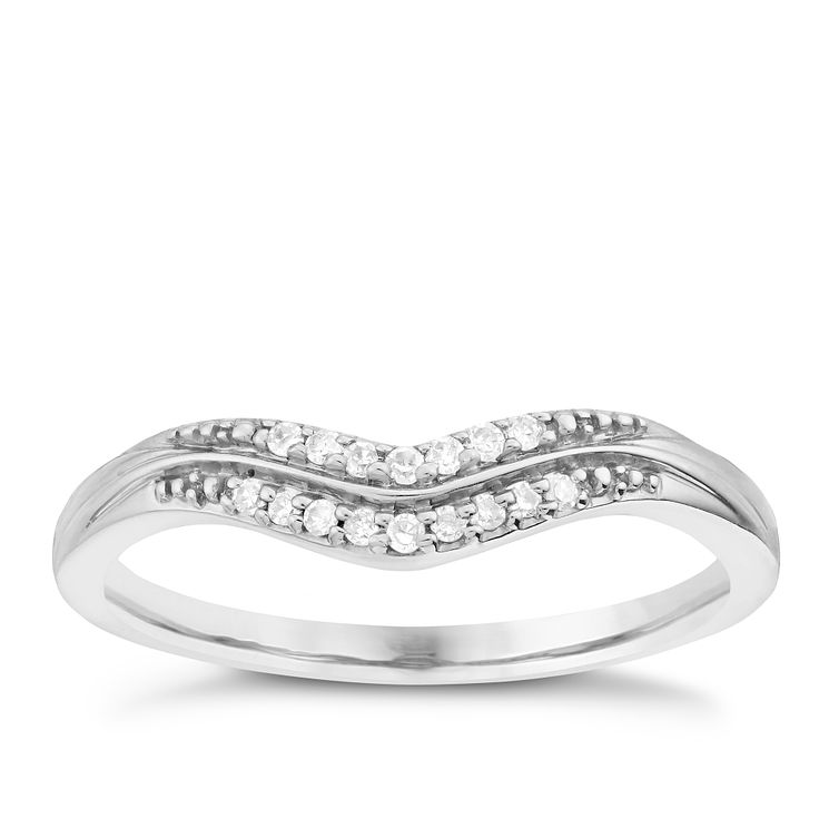 Palladium Double Row Diamond Set Shaped Band - Product number 6092756