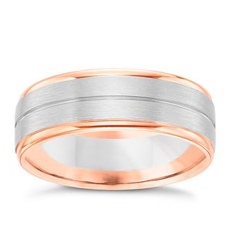 Palladium & 9ct Rose Gold Striped Band - Product number 6093892
