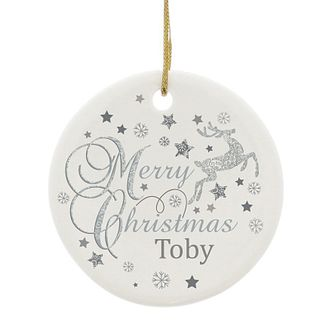 Personalised Silver Reindeer Round Ceramic Decoration - Product number 6094937