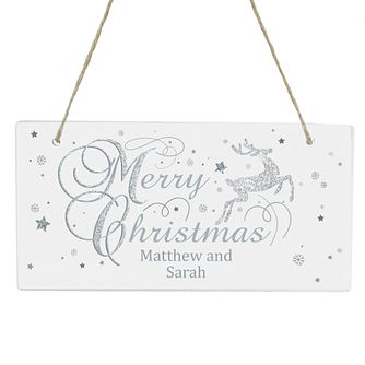 Personalised Silver Reindeer Wooden Sign - Product number 6094945