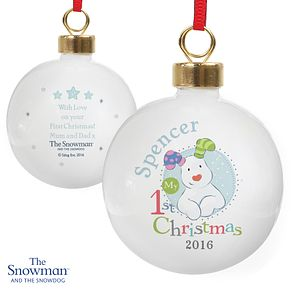 The Snowman and the Snowdog My 1st Christmas Blue Bauble - Product number 6095364