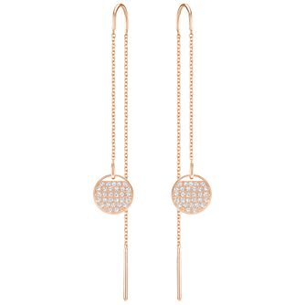 earrings double drop threader cz rose accent gold round made hand
