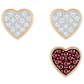 Swarovski Crystal Wishes Rose Gold Plated Heart Earrings - Product number 6100457