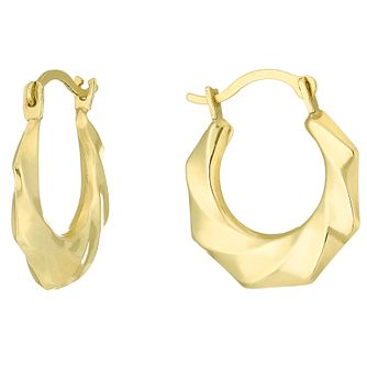 9ct Gold Swirl Creole Earrings - Product number 6114288