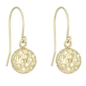 9ct Gold 3D Cut Out Ball Drop Earrings - Product number 6114393