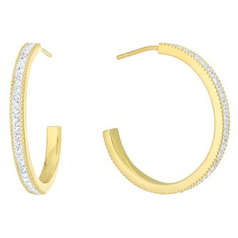 Evoke Gold-Plated Silver Crystal Set Hoop Earrings - Product number 6114415