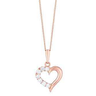 9ct Rose Gold Cubic Zirconia Set Open Heart Pendant - Product number 6114474