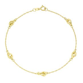 9ct Gold Knot Station Bracelet - Product number 6114806