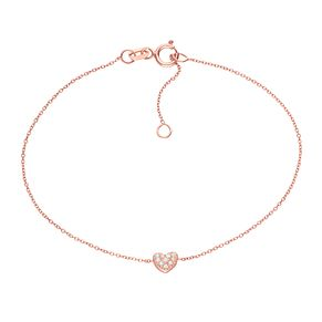9ct Rose Gold Cubic Zirconia Heart Station Bracelet - Product number 6114814