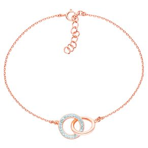 Evoke Rose Gold-Plated Crystal Interlocking Circles Bracelet - Product number 6114849