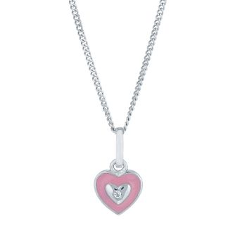 Sterling Silver & Enamel Cubic Zirconia Set Heart Pendant - Product number 6116396