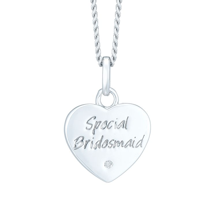 Silver & Diamond Bridesmaid Heart Pendant - Product number 6116426