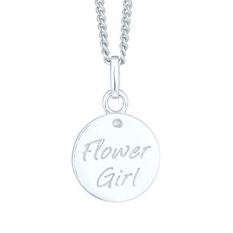 Silver & Diamond Flower Girl Pendant - Product number 6116434