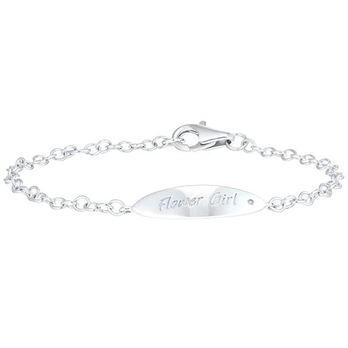 Children's Silver Diamond Set Flower Girl ID Bracelet - Product number 6116450