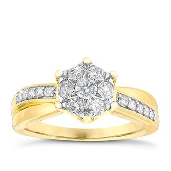 9ct Two Colour Gold Quarter Carat Diamond Ring - Product number 6118992