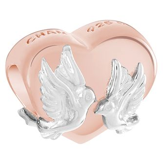 Chamilia Doves on a Heart Rose Gold Electroplate Bead - Product number 6128181