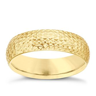 9ct Gold Diamond Cut Textured Ring - Product number 6129684