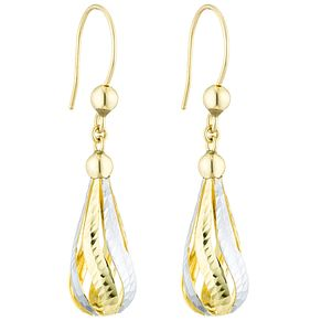 9ct Gold 2 Colour Diamond Cut Fancy Teardrop Earrings - Product number 6129919