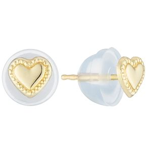 9ct Gold Heart Stud Earrings - Product number 6130097