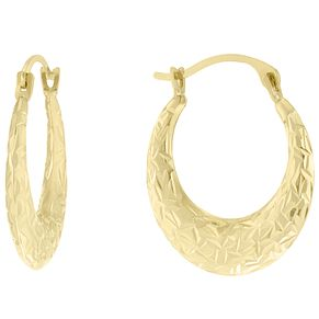 9ct Gold Diamond Cut Fancy Creole Earrings - Product number 6130518