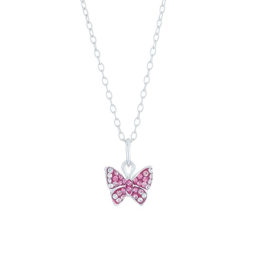 Sterling Silver Pink & White Crystal Set Butterfly Pendant - Product number 6135773