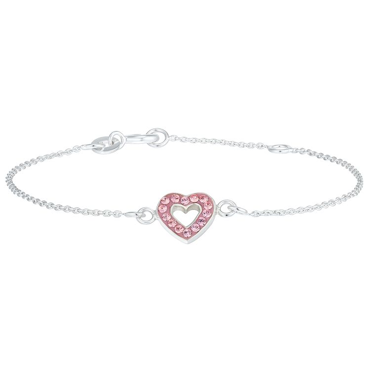 Children's Sterling Silver Pink Crystal Heart Bracelet - Product number 6135838