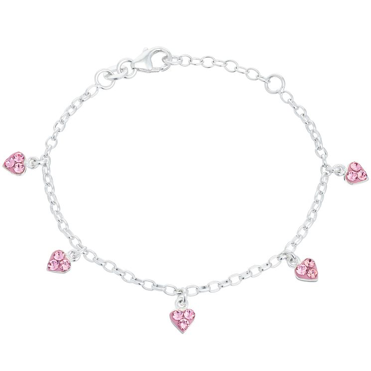 Children's Sterling Silver Pink Crystal Heart Charm Bracelet - Product number 6135846