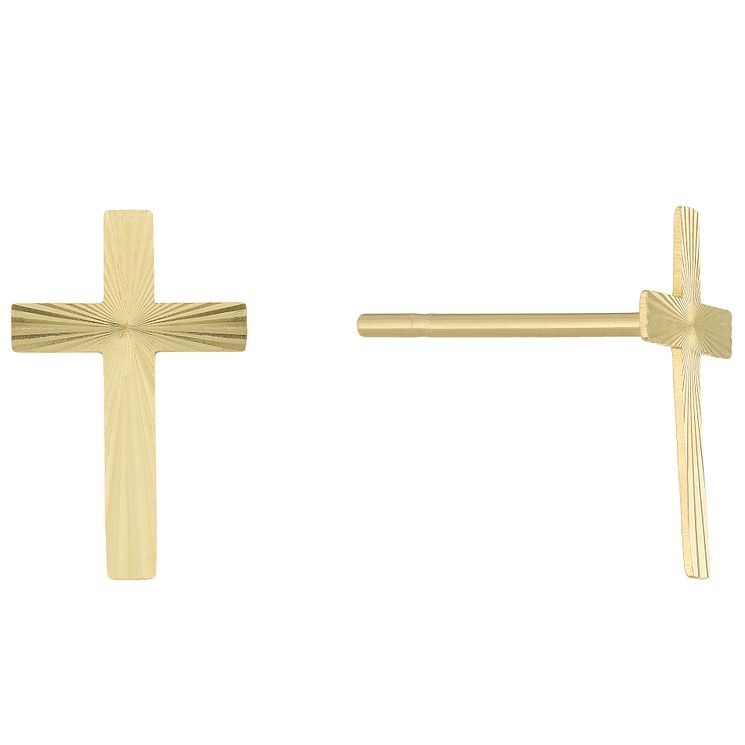 9ct Gold Cross Sunray Patterned Stud Earrings - Product number 6135862