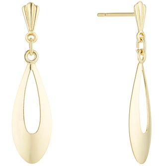 9ct Gold Open Oval Drop Earrings - Product number 6135919