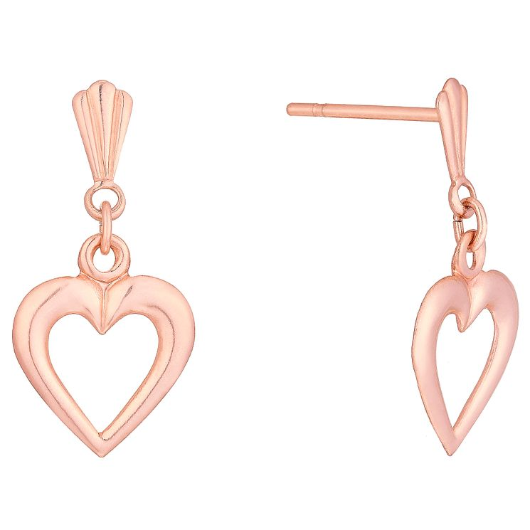 9ct Rose Gold Open Heart Drop Earrings - Product number 6135927