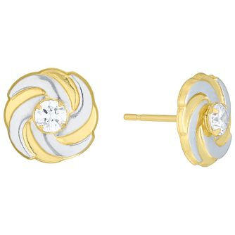 9ct Gold 2 Colour Cubic Zirconia Set Spiral Stud Earrings - Product number 6136095