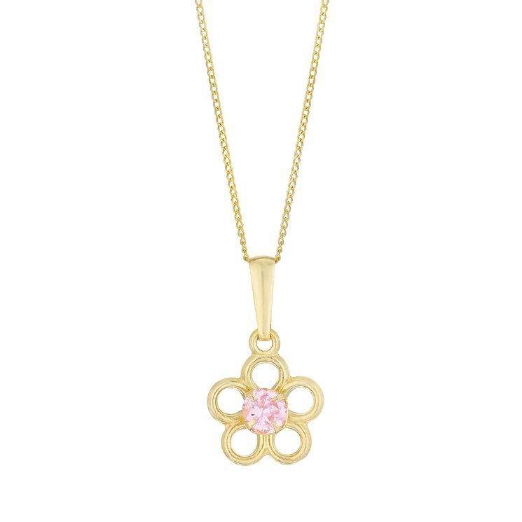 9ct Gold Pink Cubic Zirconia Set Daisy Pendant - Product number 6136249