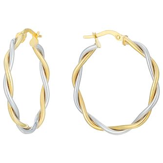 9ct Gold 2 Colour Large Twisted Creole Earrings - Product number 6137636