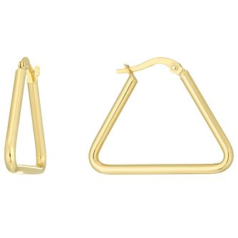 9ct Gold Triangle Creole Earrings - Product number 6137946