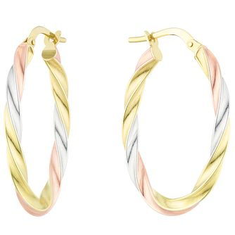 9ct Gold 3 Colour Twisted Oval Creole Earrings - Product number 6137962