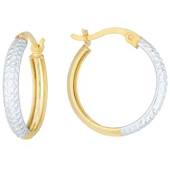 9ct Gold 2 Colour Diamond Cut Detail 15mm Creole Earrings - Product number 6137997