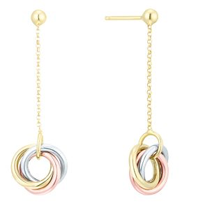 9ct Gold 3 Colour Triple Circle Drop Earrings - Product number 6138055
