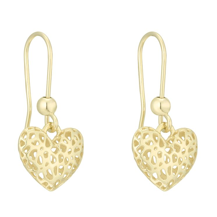 9ct Gold 3D Cut Out Heart Drop Earrings - Product number 6138101