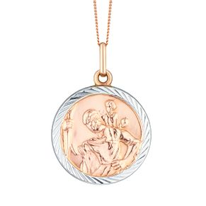 9ct Rose Gold & White Gold St Christopher Pendant - Product number 6138330