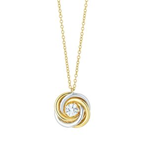 9ct Gold 2 Colour Cubic Zirconia Set Swirl Knot Pendant - Product number 6138381