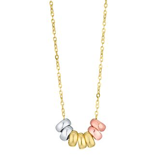9ct Gold 3 Colour Multi Rings Necklace - Product number 6138683