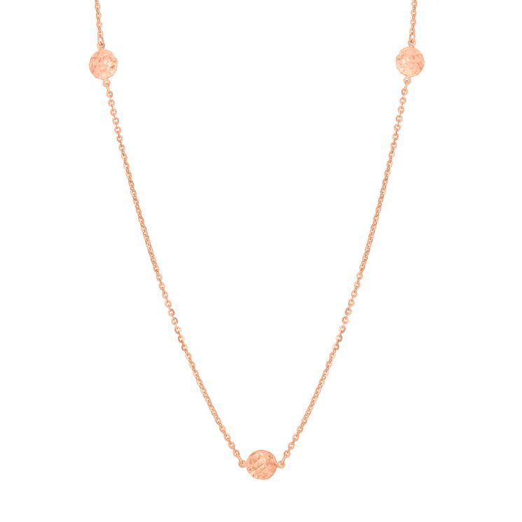 "9ct Rose Gold 27.5"" Diamond Cut Disc Station Necklace - Product number 6139434"