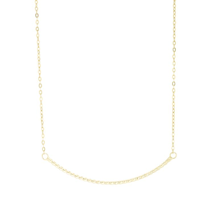 9ct Gold Twisted Curved Bar Necklace - Product number 6139809