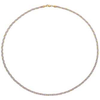 "9ct Gold 3 Colour 18"" Herringbone Necklace - Product number 6139868"