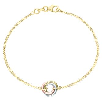 9ct Gold 3 Colour Double Chain Triple Circle Knot Bracelet - Product number 6139914